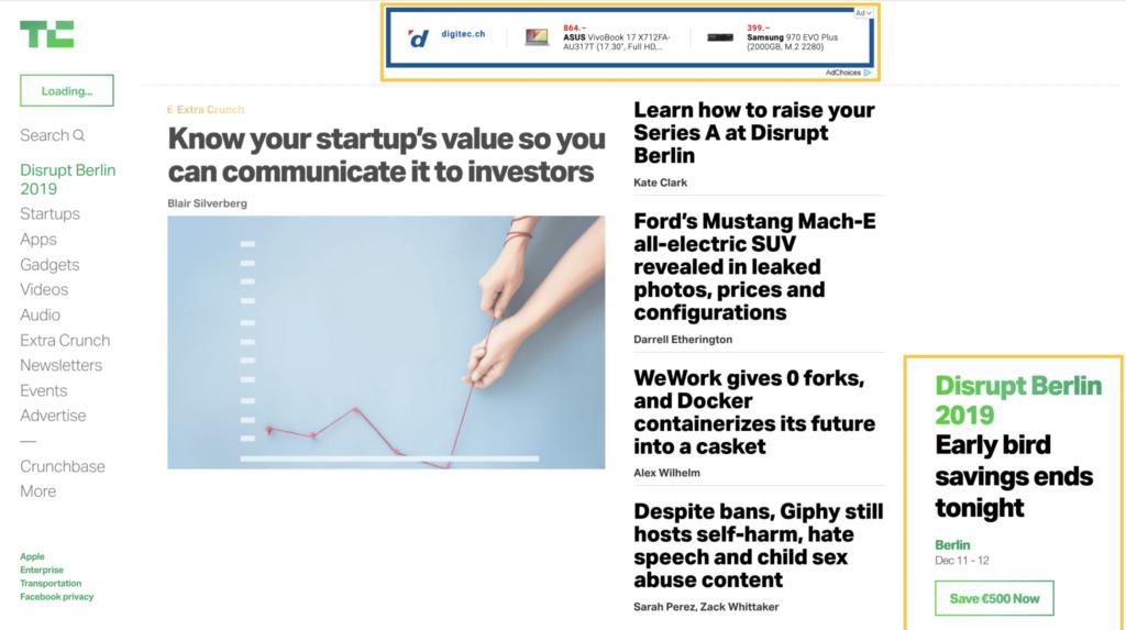 Beispiel von Google Display Ads auf der TechCrunch Webseite.