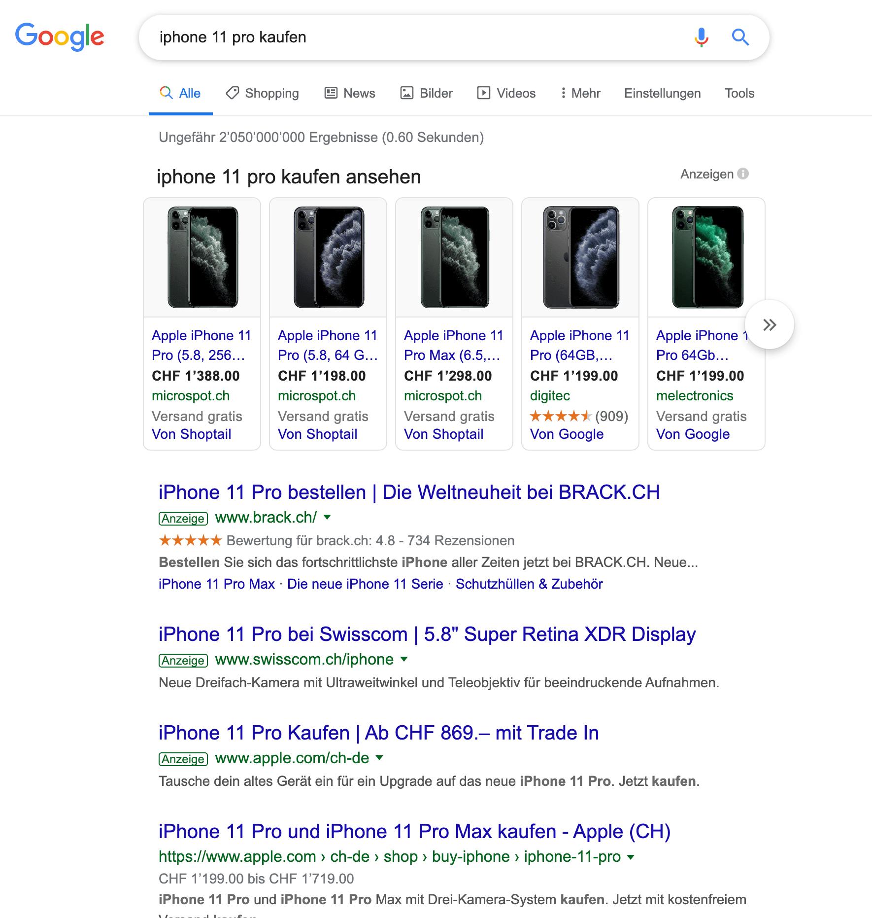 Google Suchresultat für iphone 11 pro kaufen.